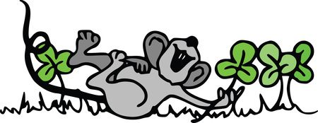 Free Clipart Of A St Patricks Day Mouse Playing in Shamrock Clovers