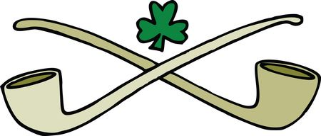 Free Clipart Of A St Patricks Day Shamrock Clover Over Crossed Pipes