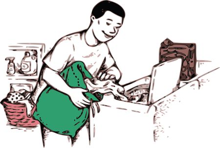 Free Clipart Of a boy doing laundry