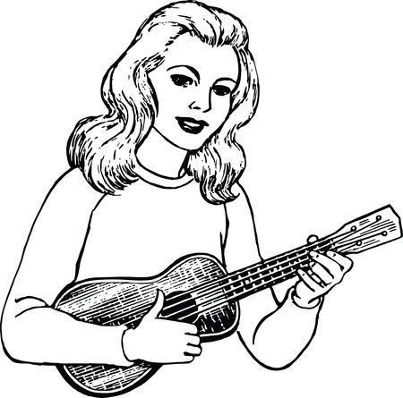 Free Clipart Of a woman playing a ukulele