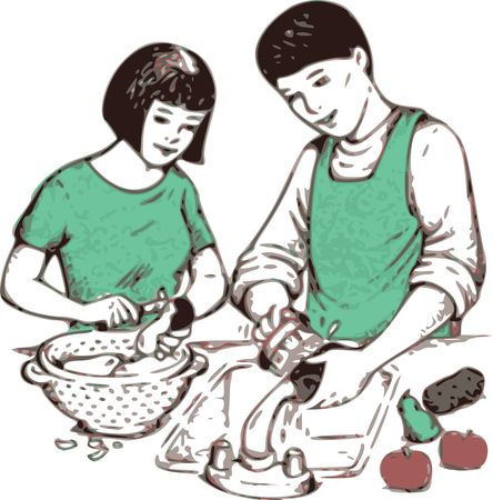 Free Clipart Of a boy and girl washing and prepping potatoes
