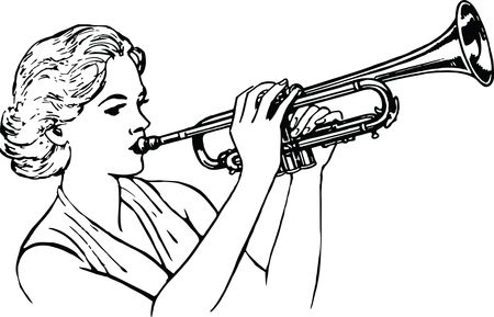 Free Clipart Of a woman playing a trumpet