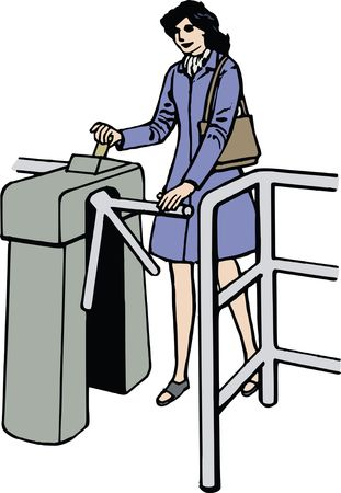 Free Clipart Of a woman going through a turnstyle