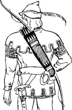 Free Clipart Of a rear view of an archer