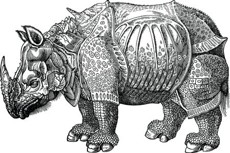 Free Clipart Of A rhino with armor