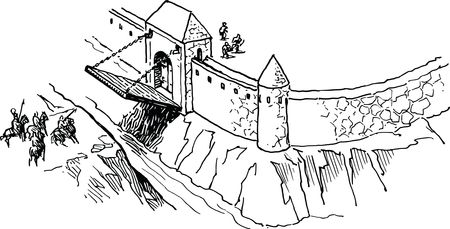 Free Clipart Of a drawbridge at a fort