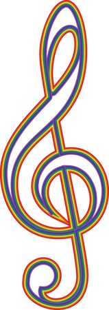 Free Clipart Of a rainbow music clef