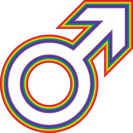 Free Clipart Of a rainbow male gender symbol