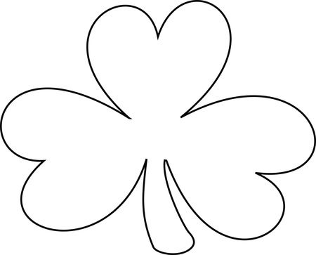 Free Clipart Of A Black and White Lineart Coloring Page Shamrock Clover