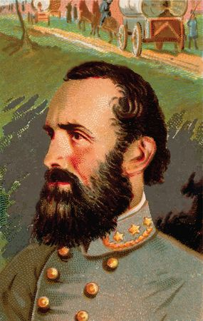 Free Clipart Of a Stonewall Jackson Cigarette Card