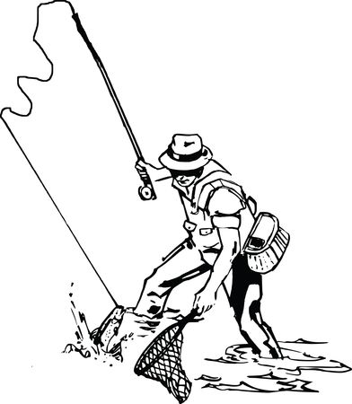 Free Clipart Of a man fishing