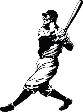 Free Clipart Of a baseball player batting