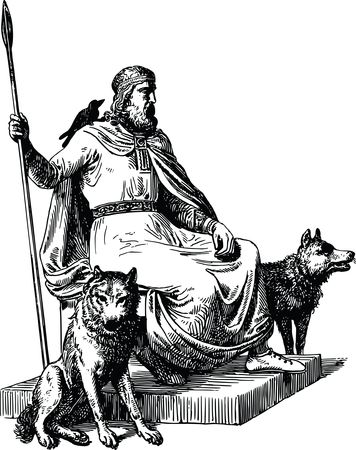 Free Clipart Of odin bird and wolves