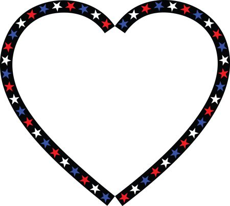 Free Clipart Of A Patriotic American Star Patterned Heart