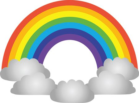 Free Clipart Of a rainbow and clouds