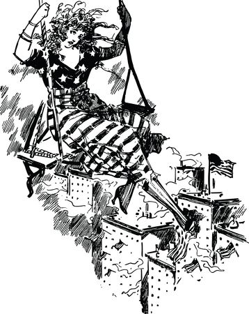 Free Clipart Of a patriotic american woman swinging