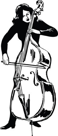 Free Clipart Of a woman playing a double bass