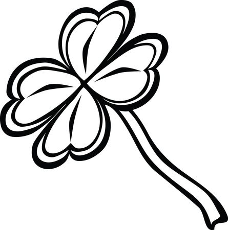 Free Clipart Of A Black and White St Paddy's Day 4 Leaf Clover Shamrock