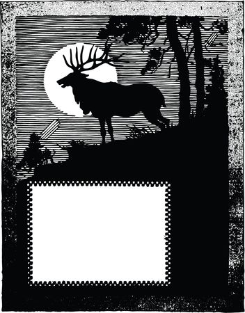 Free Clipart Of a silhouetted deer border