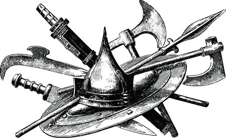 Free Clipart Of a pile of weapons