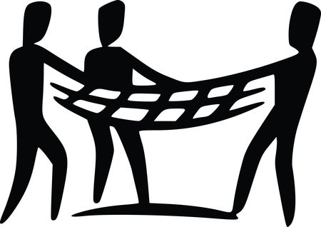 Free Clipart Of a team holding a net