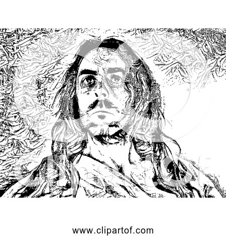 Free Clipart of Jesus Christ - Black and White Version