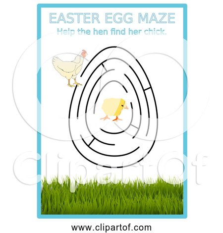 Free Clipart Of Easter Egg Maze with Hen and Chick