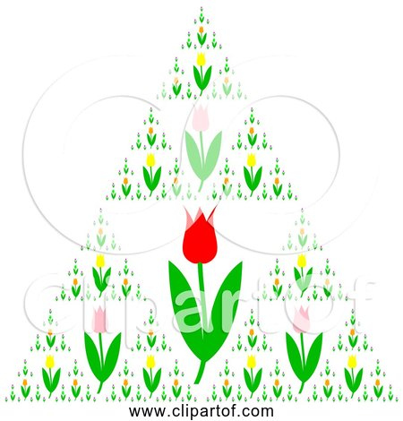 Free Clipart of Triangle Tulips