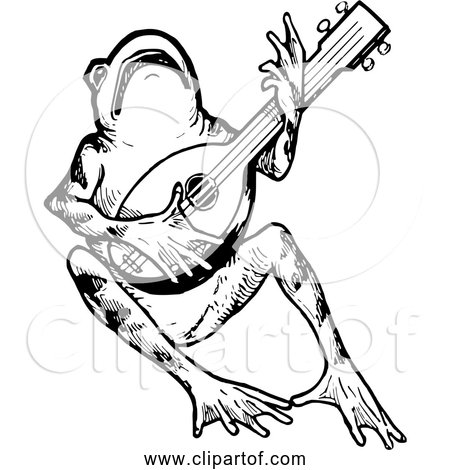 Free Clipart Of Frog Playing Mandolin - Black and White Version