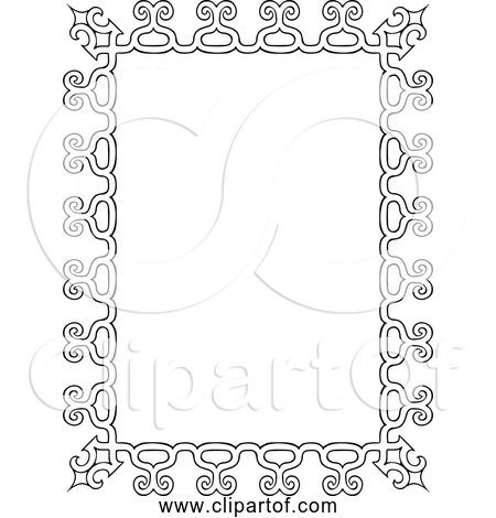 Free Clipart Of a Vintage Rectangle Frame - Black and White Version