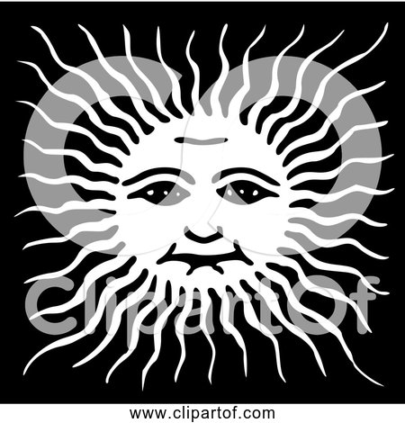 Free Clipart Of Sun face - Black and White Version 3