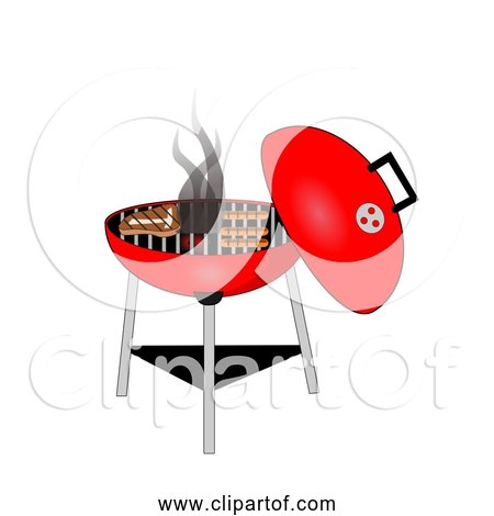 Free Clipart Of a Red BBQ Grill Cooking Food