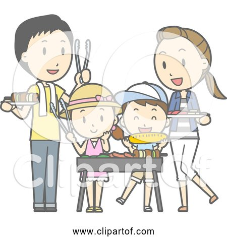 Free Clipart of Happy Family Barbecue