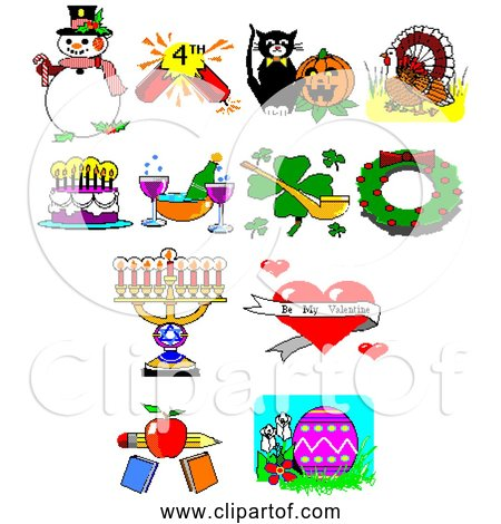 Free Clipart of Retro 8-bit Holiday Collection