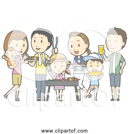 Free Clipart of Family Barbecue with Friends