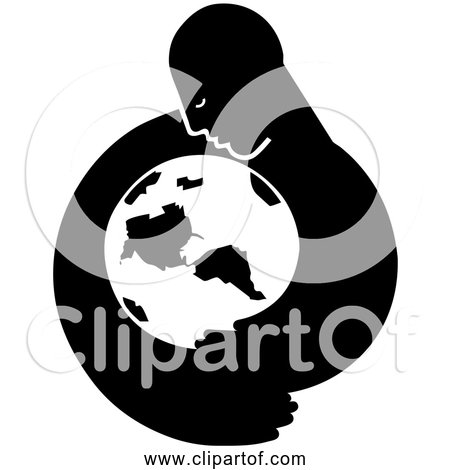 Free Clipart of Mother Earth - Black and White Edition