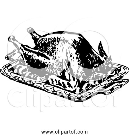 Free Clipart of Roasted Turkey - Retro Black and White Version