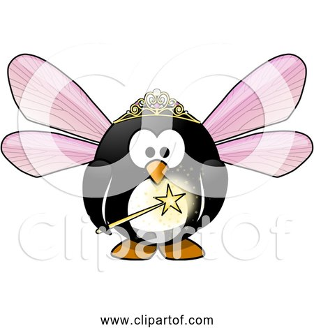 Free Clipart of Fairy Penguin with Magic Wand