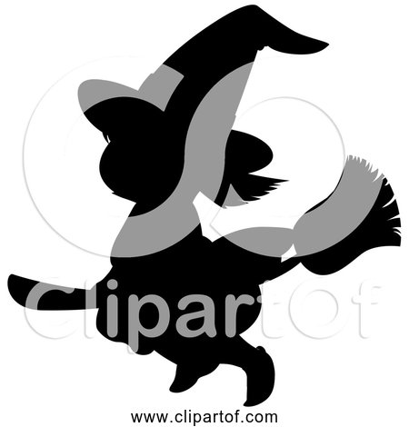 Free Clipart of Cartoon Witch Flying Silhouette