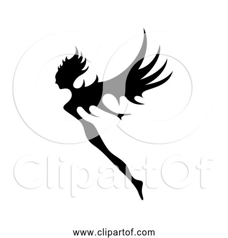 Free Clipart of Fairy Flying - Black Silhouette