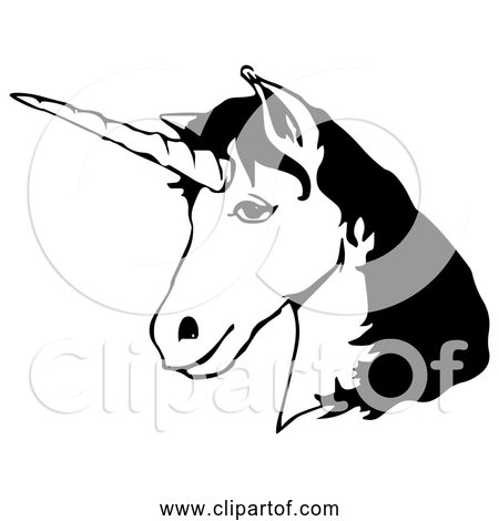 Free Clipart of Unicorn Head - Black and White