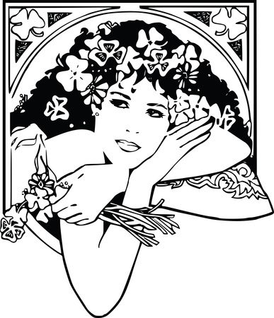 Free Clipart Of A Black And White Woman With Shamrocks