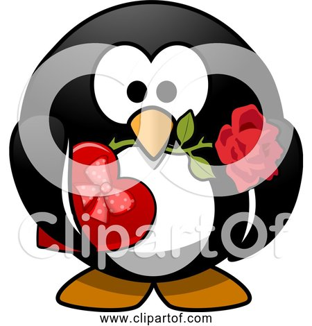 Free Clipart of Valentine Penguin with Box Of Chocolates