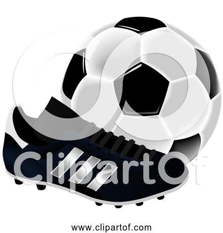 Free Clipart of a Soccer Ball and Cleat - Black and White