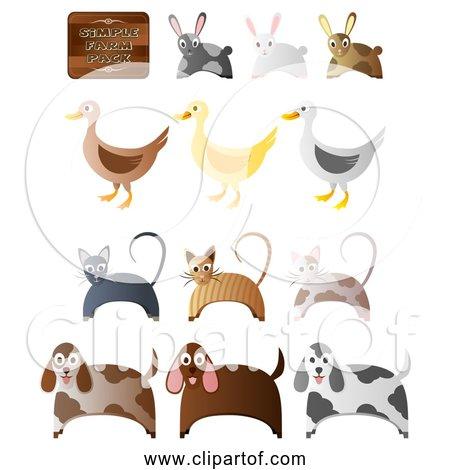 Free Clipart of Simple Farm Animals - Version Set 2