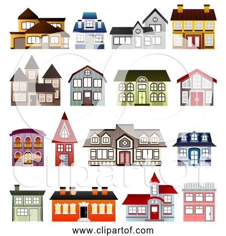 Free Clipart of 16 Simple Houses Collection