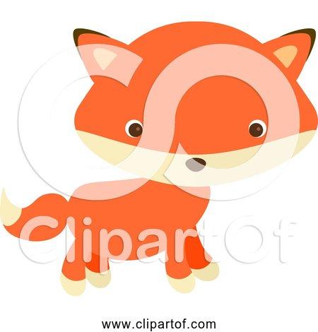 Free Clipart of a Cute Cartoon Red Fox Baby