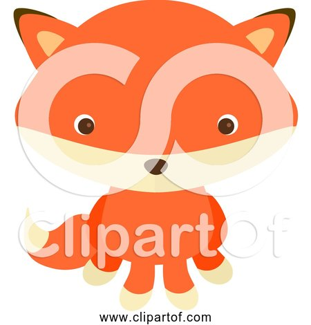 Free Clipart of a Young Cartoon Red Fox Sitting