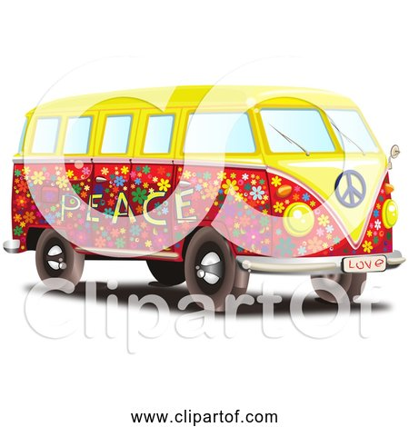 Free Clipart of a Volkswagen Type 2 Transporter Bus - Colorful Hippy Style with Peace and love