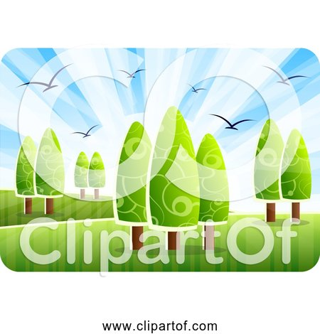 Free Clipart of Landscape with Birds, Trees, Grass, and Blue Sky